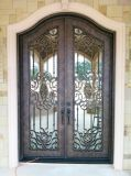European Style Square Top Wrought Iron DOOR with Transom