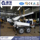 Perfuração da eficiência elevada DTH com compressor de ar, equipamento Drilling do reboque de Hf150t para o poço de água