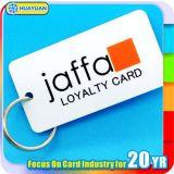Barcode prnting plastic loyalty Keytag com anel de metal