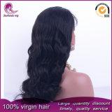 Negro natural Gran ondulado cabello virgen de Malasia peluca de encaje completo