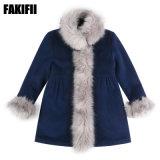 Commerce de gros OEM / ODM de la marque de vêtements pour bébés enfants vêtement de laine de la Marine d'hiver manteau de fourrure fille d'usure de loisirs