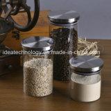 Tarro de cristal del almacenaje del caramelo del alimento sellado con la tapa del acero inoxidable