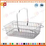 Populärer Supermarkt-Metalldraht-beweglicher Einkaufskorb (ZHb154)