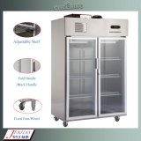 Aprovado pela CE comercial de aço inoxidável verticais frigorífico congelador