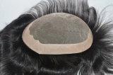 Toupee naturale pieno degli uomini dei capelli della parte anteriore del merletto del grado 7A