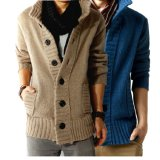 Knitted Hook Cardigan Sweater for Man Neck Sports shirt