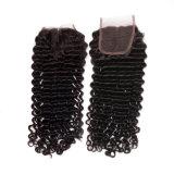 閉鎖が付いている部品の中間の毛自然なカラー深い波100%の加工されていないペルーの巻き毛の波の人間の毛髪