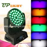 Testa mobile della lavata LED dello zoom di illuminazione 36*18W 6in1 RGBWA+UV della fase