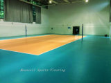 10mmの専門の屋内バレーボールPVCは床-黄色いカラーの青遊ばす