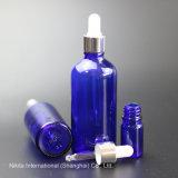 Gotero de cristal azul Frasco con gotero de aluminio plateado, botella de aceite esencial (NBG03D)
