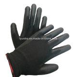 Черный цвет безопасности PU покрытием рабочие перчатки