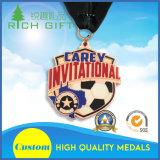 Medaglia personalizzata della concorrenza di gioco del calcio con inchiostro intermedio ed il nastro