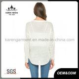 Maglione bianco/blu del bordo lungo del manicotto Ciao-Lo di Sun