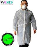 Polypropylène/nontissé/polyéthylène/SMS/hôpital/laboratoire/visiteur//médicales/chirurgicales/blouse de laboratoire jetables de protection PE, blouse de laboratoire en plastique jetables