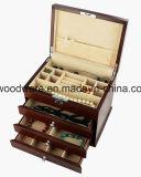 Коробка подарка хранения ювелирных изделий отделки Sapele Matt деревянная с 3 ящиками