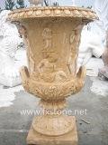 Pot de fleurs en bois sculpté en pierre