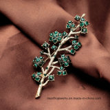 نمو طازجة وجميلة فرع سبيكة [بروثروش] [رهينستون] دبوس الزينة مجوهرات