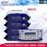 Limpieza orgánica de la fábrica de toallas sanitarias servilletas servilletas antibacteriano suave de las toallitas húmedas para bebés y adultos
