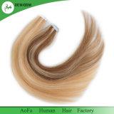 100%の人間の毛髪のブラジルのRemyの毛まっすぐなテープ毛の拡張