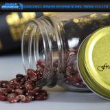 Frasco de vidro do armazenamento da face lisa com tampas douradas