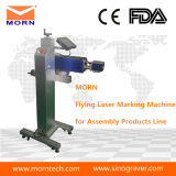 Máquina de marcado láser de fibra de vuelo de metal y plástico