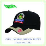 Gorra de béisbol bordada tela cruzada negra del algodón de la manera