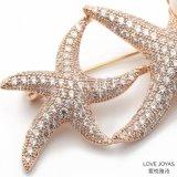 大きい金のヒトデのジルコンの真珠のブローチのコートのブローチ、Pinの水晶ブローチ、花のブローチ、ブローチの宝石類、ブローチの花束