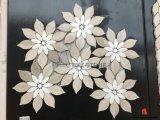 Het grijze Houten Witte Marmeren Mozaïek van de Bloem voor de Binnenlandse Decoratie van de Muur