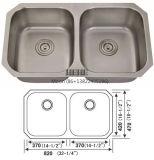 Fregadero de acero inoxidable, la igualdad de recipiente50/50 Undermount doble Fregadero, lavabo artesanal