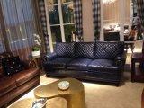 居間(A32)のための青いカラー革ソファー