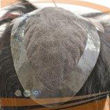 Peluca llena del pelo humano del cortocircuito del cordón (PPG-l-01313)