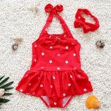 جذّابة جميل أحمر موجة نقطة جديات بنت طفلة [أن-بيس] ثوب أطفال [سويمور] رقص لباس