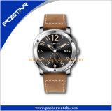 A banda de couro genuíno exclusivo Sport Subdial relógio de pulso