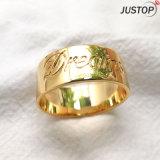 El diamante de piedra de zirconio anillo redondo en Latón de cobre con chapado de chapado en oro real