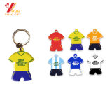 Pvc Keychain, de Sleutelring van Diverse van de Voetbalster van het Embleem van de douane Zacht Douane van de T-shirt van het Silicone
