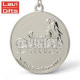 メーカーの昇進の習慣は締縄のリボンが付いている銀製ブランク金属賞メダルを作る
