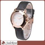 Montre classique de courroie en cuir d'acier inoxydable, Madame Dress Wristwatch
