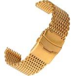 18 20 22オメガBreitlingのための24mm銀製の黒い金のステンレス鋼の時計バンドストラップワイヤー鮫の網のブレスレットの平らな端