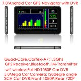 Cheap7.0inch IPS Multi-Berühren Auto androiden Bluetooth 3G Tablette PC mit GPS Navgation, 5.0mega volles HD1080p DVR, Doppelauto-Rückseiten-Parken-Kamera; Neue GPS-Nautiker-Karte,
