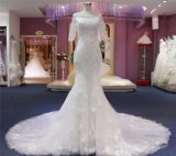 Fashion Plaid Lace Cordão Flores Mermaid Suite vestido vestido de casamento