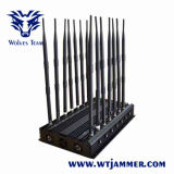 Jammer de controle remoto poderoso do sinal do telefone do VHF GPS Lojack da freqüência ultraelevada 14 das antenas ajustáveis 3G 4G WiFi