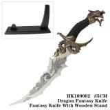 Ornamentação 55cm da HOME da faca da fantasia do ofício do metal da faca do dragão