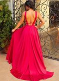 Satin-Prom Gowns A-Line Backless Sexy вечерние платья Z5011