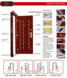 2018 Diseño de tres paneles de puerta de seguridad de acero en color nogal