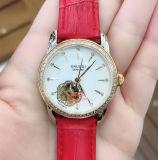 스테인리스 상자 가죽끈 기계적인 숙녀 손목 시계