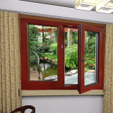 Madera de calidad superior europeo de la impresión en color aluminio Casement ventana con la mosca inoxidable Net