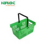 Alavanca única cesta de compras de supermercado de plástico portátil