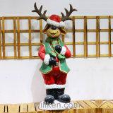 Procès Santa de Santa et décorations de Noël de cerfs communs pour la décoration extérieure de jardin