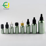 Revestimiento de color verde Botella de vidrio con gotero
