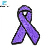 Corrección en blanco Shaped del bordado de la cinta púrpura de la alta calidad
